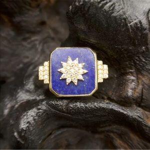 Sole Society Lapis Lazuli Pave Starburst Statement Ring Size 7